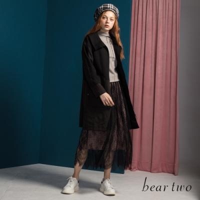 bear two-造型大口袋翻領外套-黑