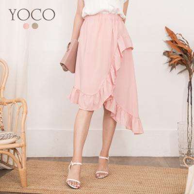 東京著衣-YOCO 甜美教主雪紡不規則下擺中長裙-S.M.L(共二色)