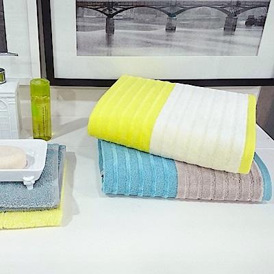 日本丸真 土耳其棉橫紋禮盒三件組-藍色(方巾+毛巾+浴巾)