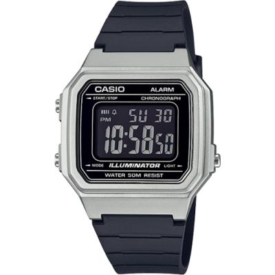 CASIO 復古方形數位電子腕錶-銀x黑(W-217HM-7B)/34mm