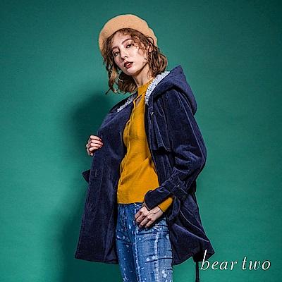 beartwo  暖暖燈心絨鋪毛連帽大衣外套(二色)