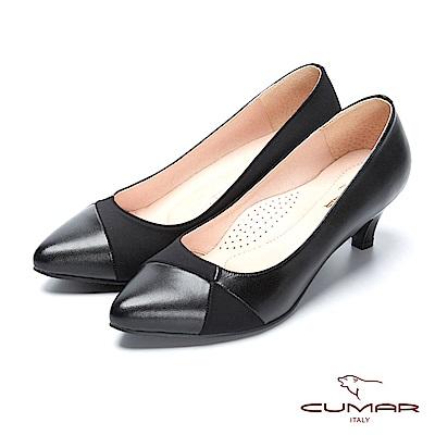 CUMAR復古典雅- 不對襯異材質拼接尖頭高跟鞋