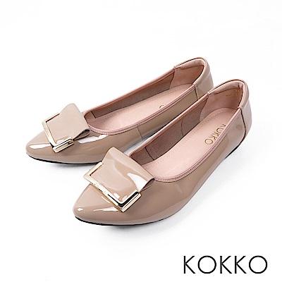 KOKKO -雨後的天空尖頭漆皮平底鞋-清新粉