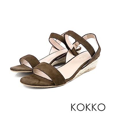 KOKKO - 歐膩時尚羊麂皮後帶楔型涼鞋 - 蘚苔綠