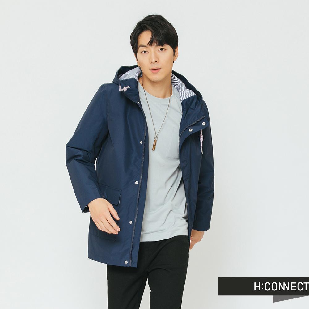 H:CONNECT 韓國品牌 男裝-連帽抽繩休閒外套-藍[情人節送禮推薦]