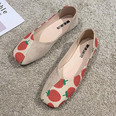 KEITH-WILL時尚鞋館 好評加碼水果印花方頭鞋-草莓