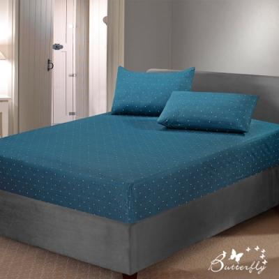 BUTTERFLY-台製40支紗純棉-薄式加大雙人床包枕套三件組-希望樹-藍