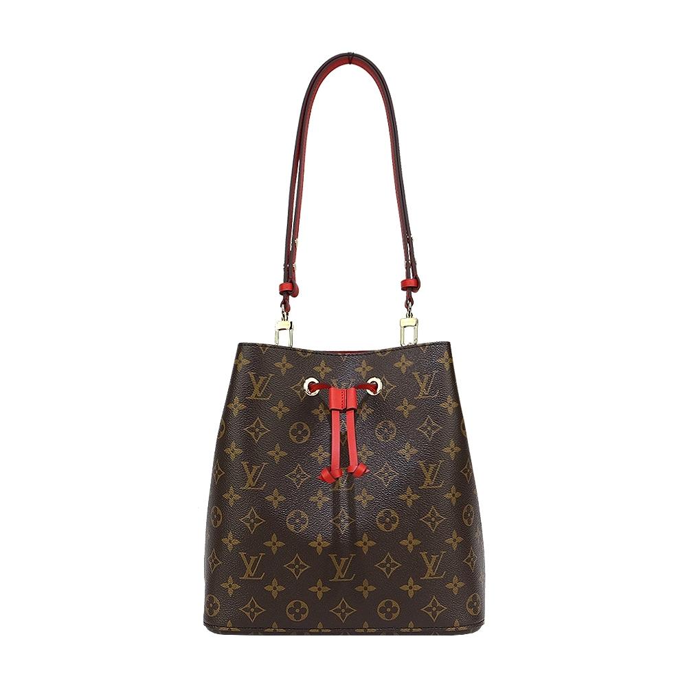 Louis Vuitton Neonoe 經典花紋肩斜兩用水桶包(罌粟紅色)