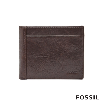 FOSSIL NEEL 真皮證件格零錢袋男夾-深咖啡色