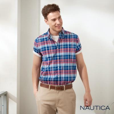 Nautica經典格紋短袖襯衫-紅藍格