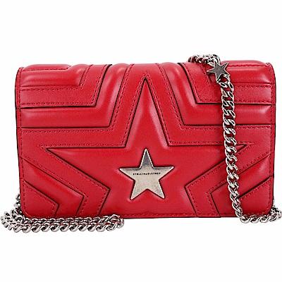 Stella McCartney Star WOC 小款星型絎縫手拿鍊帶包(紅色/銀鍊)