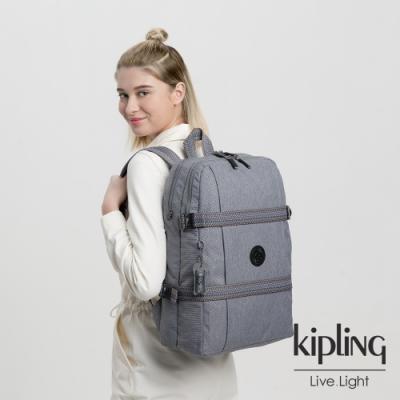 Kipling 知性炭灰色雙層收納長形後背包-TAMIKO P