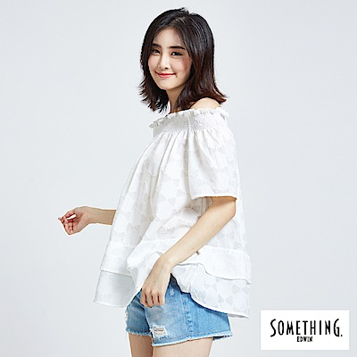 SOMETHING 浪漫幾何上衣-女-白色