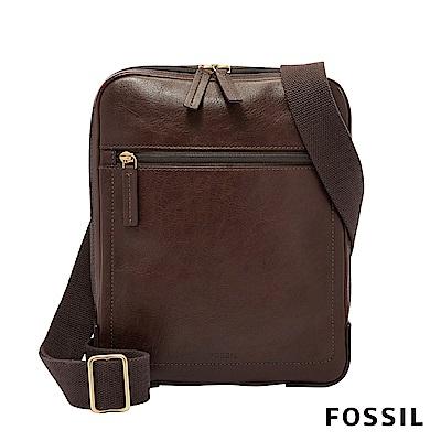 FOSSIL HASKELL 真皮簡約貼身款側背包-深咖啡