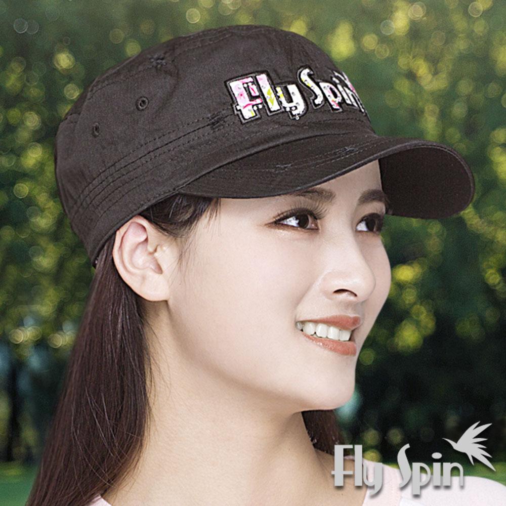 FLYSPIN 防曬軍帽男女全棉貼布繡花軍人帽