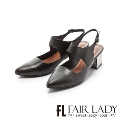 Fair Lady優雅小姐Miss Elegant赫本風皮革尖頭金屬粗根鞋 黑