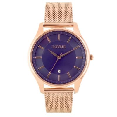 LOVME 文青時尚米蘭手錶-IP玫x寶藍/41mm