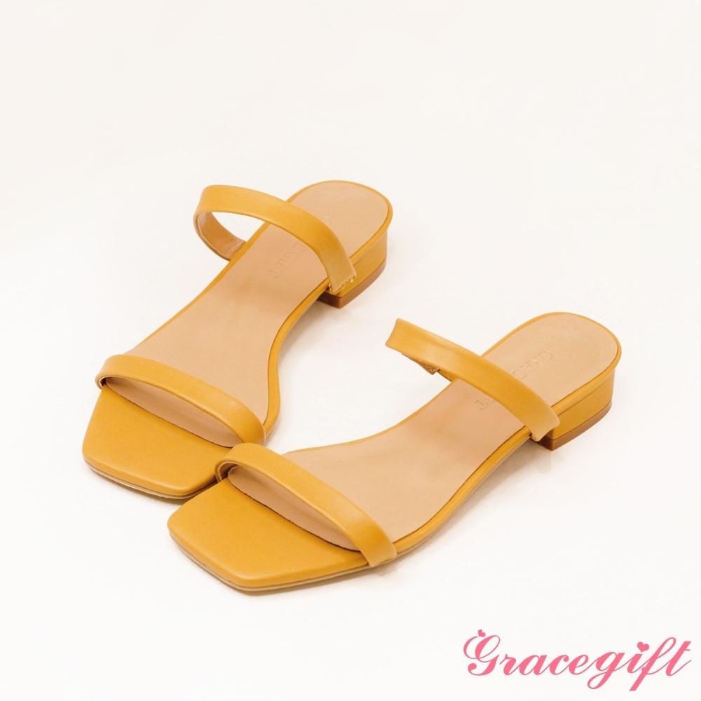 Grace gift-一字雙細帶低跟涼拖鞋 芥末黃
