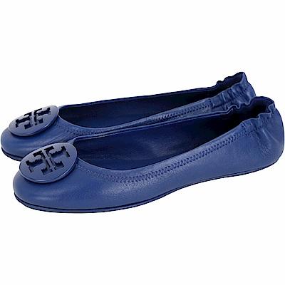 TORY BURCH Minnie Travel 琺瑯盾牌飾折疊平底鞋(寶藍色)