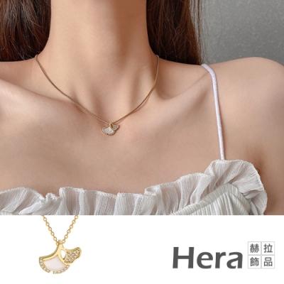 Hera 赫拉 銀杏葉氣質輕奢鈦鋼鎖骨鏈#H100331E