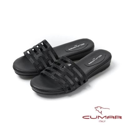 CUMAR情迷哈瓦那 - 排鑽鏤空楔型平底拖涼鞋-黑蔥