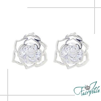 iSFairytale伊飾童話 韓風薔薇 鋯石S925銀針貼耳耳環
