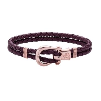 PAUL HEWITT  PHINITY 玫瑰金馬蹄釦編織系列手環-深紫