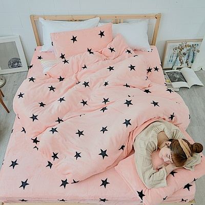 AmissU 北歐送暖法蘭絨雙人床包枕套3件組 星戀幻影