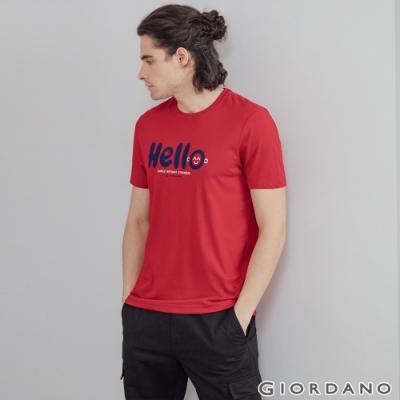 GIORDANO 男裝Greeting印花T恤 - 04 絲帶紅