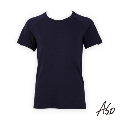 A.S.O負離子系列-男士排汗短袖上衣-深藍