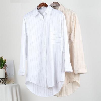 La Belleza前短後長細黑條紋單口袋排釦長版襯衫罩衫外套