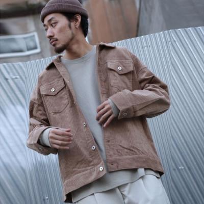 寬版燈芯絨夾克外套素色(7色) -ZIP日本男裝