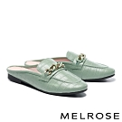 穆勒鞋 MELROSE 時尚質感雙色鍊條穆勒低跟拖鞋-綠