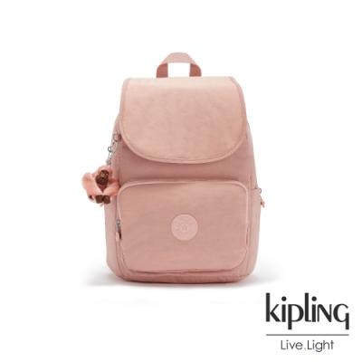 Kipling 玫瑰石英粉掀蓋拉鍊後背包-MEDIUM BACKPACK