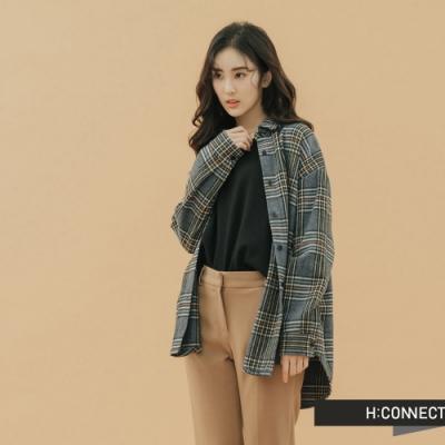 H:CONNECT 韓國品牌 女裝-彩格毛呢襯衫-藍