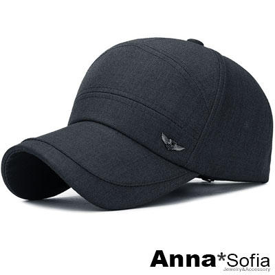【滿額再75折】AnnaSofia 翅飾面片剪裁 防曬遮陽嘻哈棒球帽老帽(深灰系)