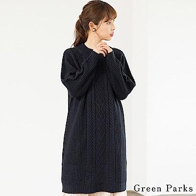 Green Parks麻花長版針織上衣