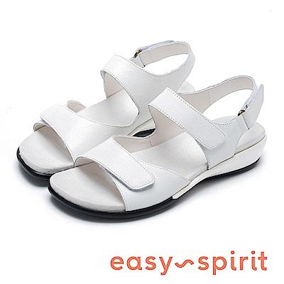 Easy Spirit ESHARTWELL 牛皮繫帶後增高涼鞋-白色