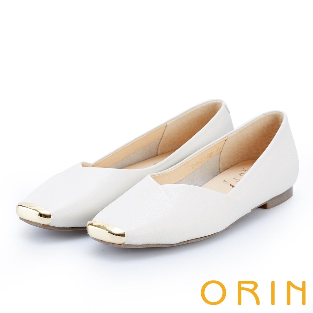 ORIN 率性金屬方頭牛皮 女 平底鞋 米色
