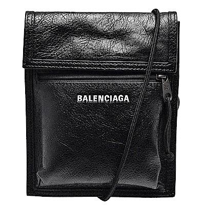 BALENCIAGA 經典Explorer系列品牌粗體字母烙印小羊皮斜背包(小-黑)