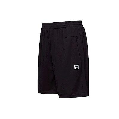 FILA 男款抗UV吸濕排汗針織短褲-黑色 1SHT-1306-BK