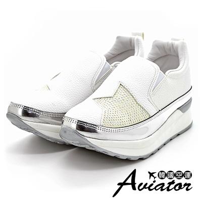 Aviator*韓國空運-正韓製皮革星星水鑽內增高懶人鞋-白