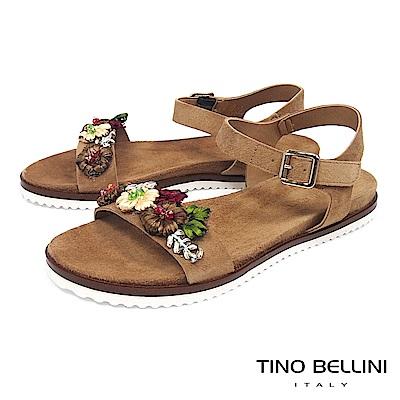 Tino Bellini 義大利進口繽紛花叢麂皮平底涼鞋 _ 駝
