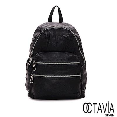 OCTAVIA8 真皮 - 天氣晴 中性三層拉鍊牛皮後背包 -  光暈黑