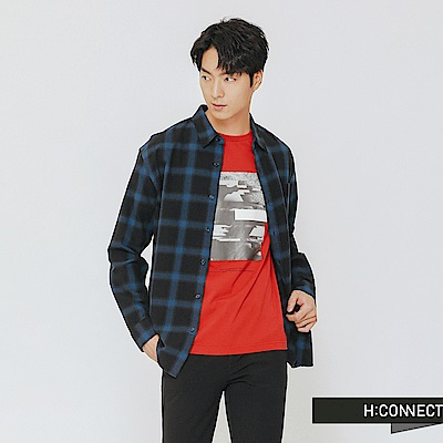 H:CONNECT 韓國品牌 男裝-單口袋格紋棉質襯衫-藍