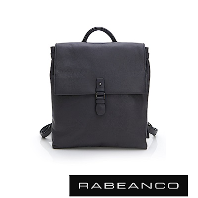 RABEANCO RIE系列軟牛皮方型後背包 暗灰藍