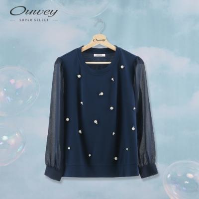 OUWEY歐薇 鑲鑽珍珠羅馬布上衣(藍)