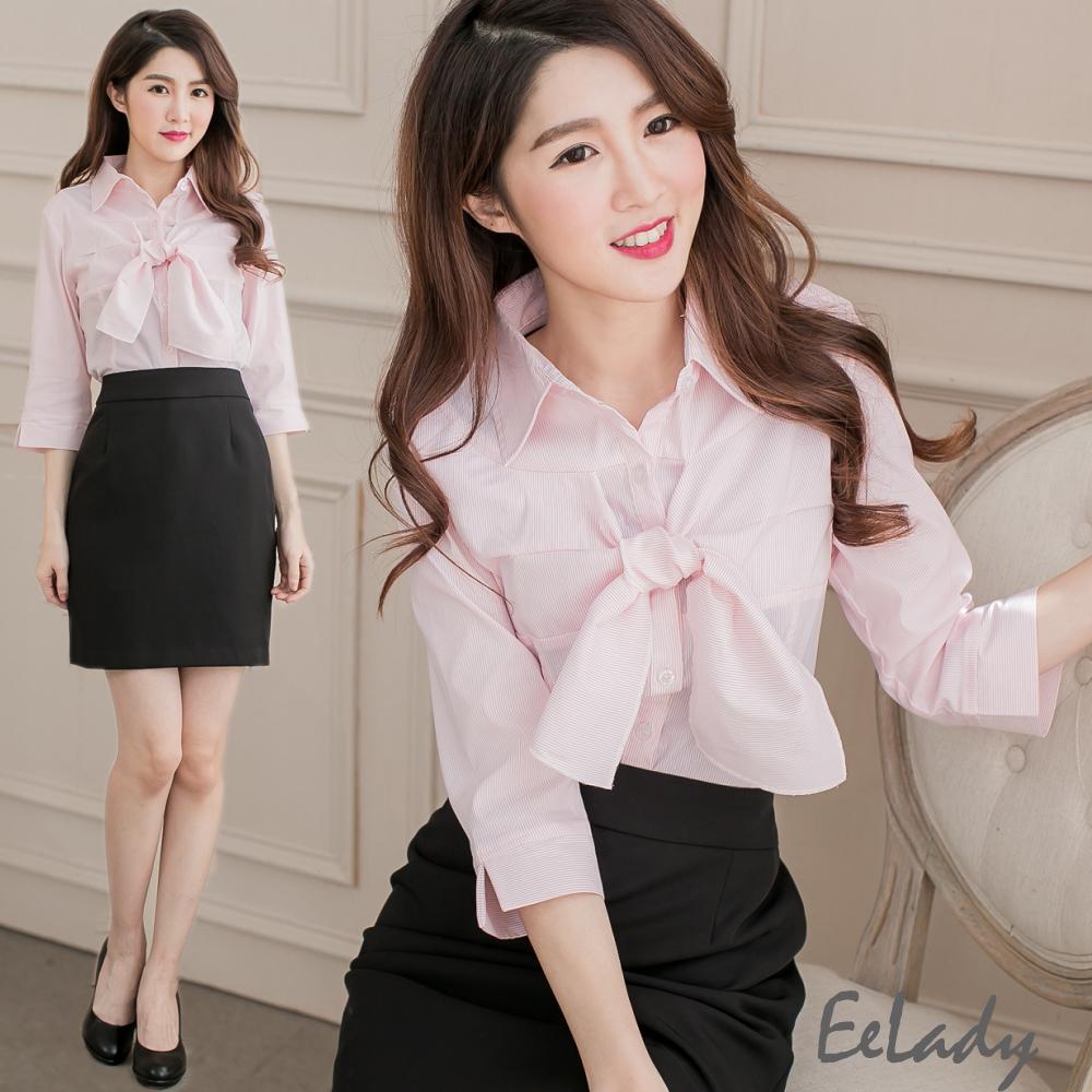 EELADY大尺碼-飾領巾七分袖襯衫