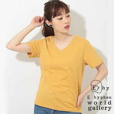 E hyphen 簡約V領棉質短袖T恤