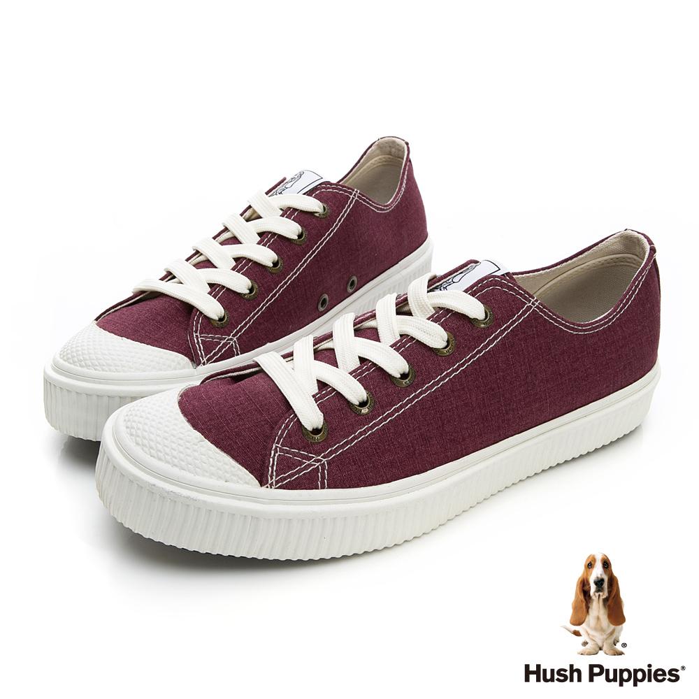 Hush Puppies 古著斜紋咖啡紗餅乾鞋-酒紅